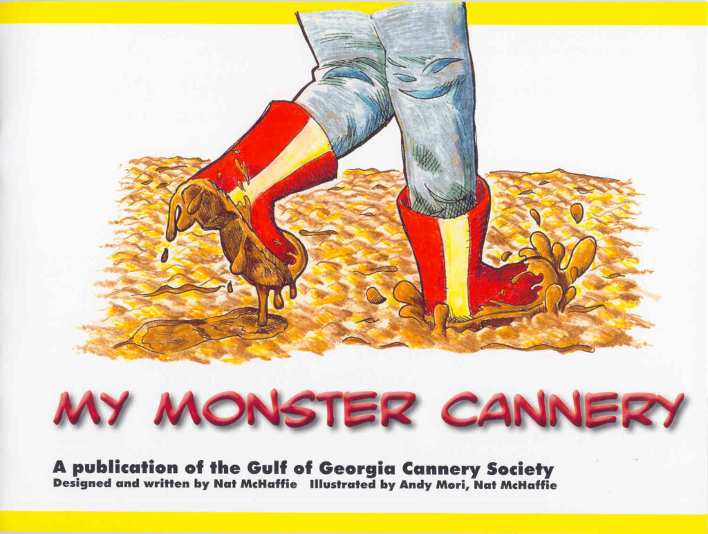 Muddy boots on illustrated cover of children's book My Monster Cannery